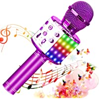 SunTop Micrófono Karaoke Bluetooth, Microfono Inalámbrico Karaoke, Portátil con Altavoz y Luces LED, Reproductor KTV…