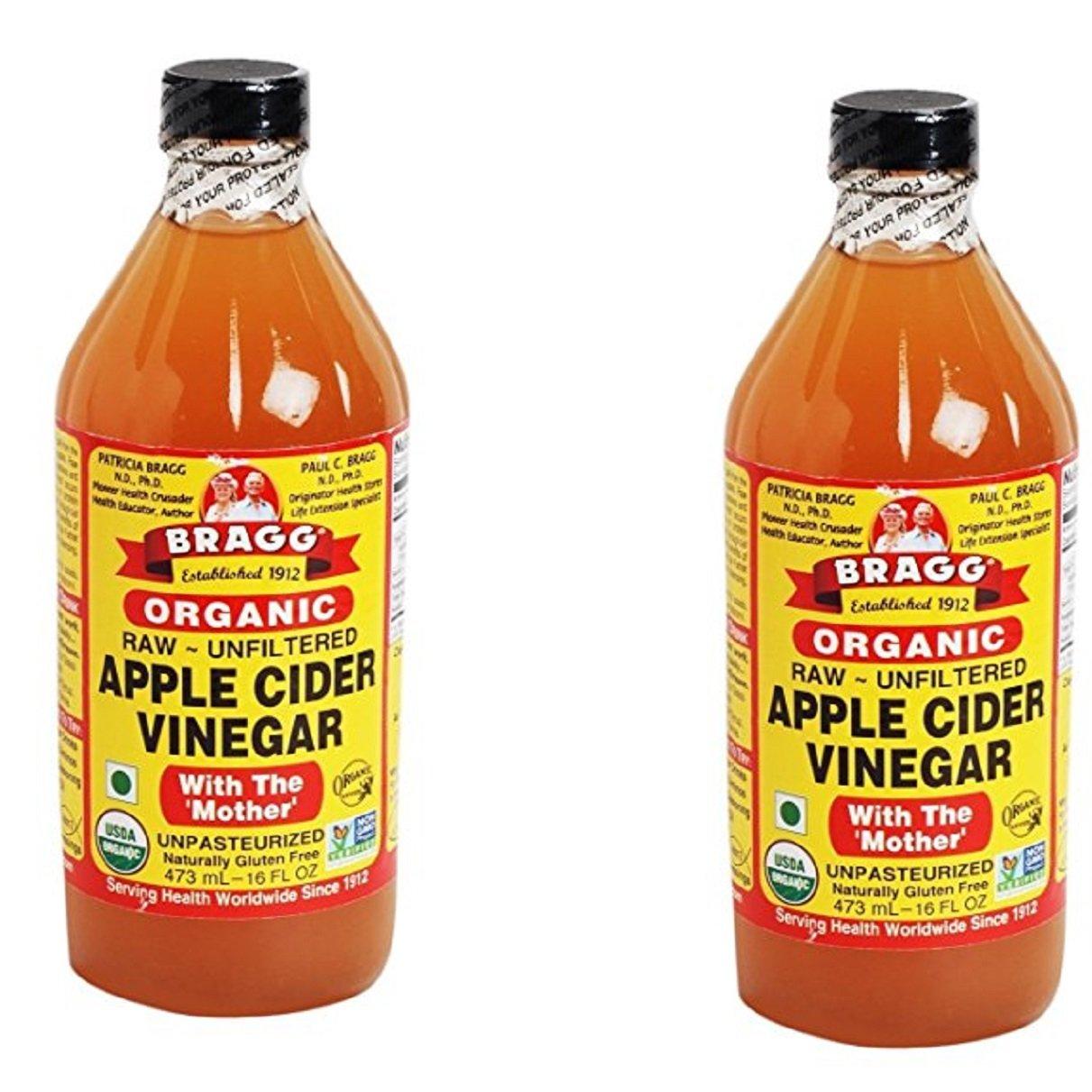 Bragg USDA Gluten Free Organic Raw Apple Cider Vinegar, With the Mother zPACaT, 2Pack (16 oz)