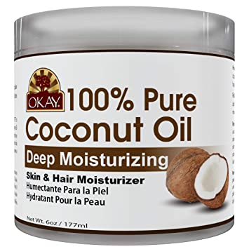 OKAY   100% Pure Coconut Oil   For All Hair Textures & Skin Types    Moisturize - Massage - Condition  