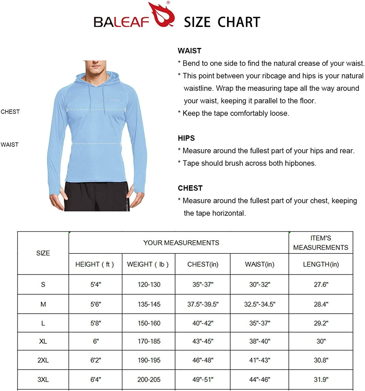 BALEAF Mens UPF 50 Sun Protection Hoodie Long Sleeve Thumbholes SPF Fishing Shirts Rash Guard Lake Blue XL