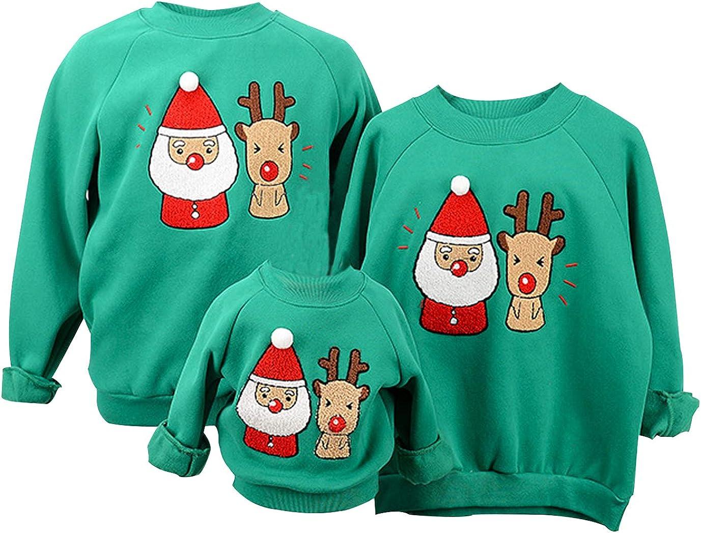 Sudaderas Navideñas Familiares Sudadera Navidad Hombre Mujer Niña Niño Jersey Suéter Navideño Sudadera Navideña Familia Jerséis Reno Jerseys Navideños Parejas Cuello Redondo Ancha Larga Invierno
