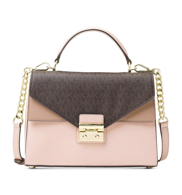 c36f682a705615 Amazon.com: Michael Kors Sloan Medium Leather and Logo Satchel- Brown/Soft  Pink: Shoes