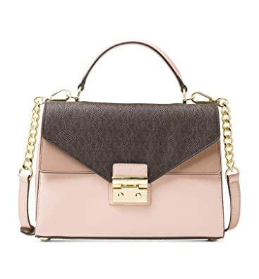 1cc72f6f5338fe Amazon.com: Michael Kors Sloan Medium Leather and Logo Satchel- Brown/Soft  Pink: Shoes