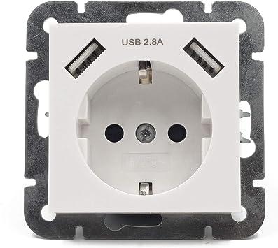 Alanan Enchufe para la pared Zócalos USB Toma de pared Schuko empotrada con 2 cargadores de conexión USB blanco (2.8A 1 Pack): Amazon.es: Bricolaje y herramientas