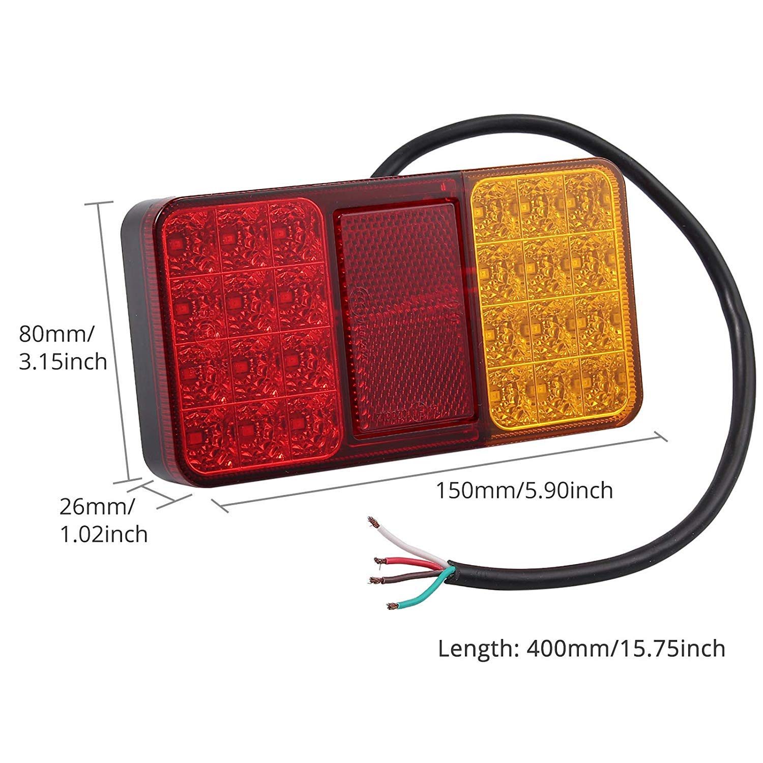 24 LEDS Justech 2 x Rear Brake Lights Tail lights 12V Universal for Trailer Camper Van Truck Lorry Tractor
