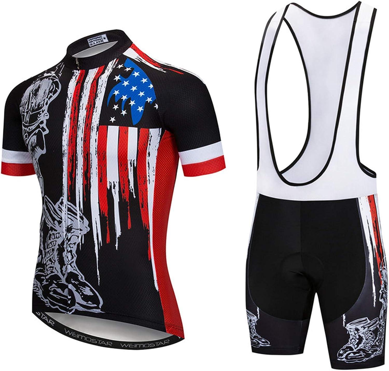 Mens Cycling Jersey Set Short Sleeve Bike Clothing Reflective