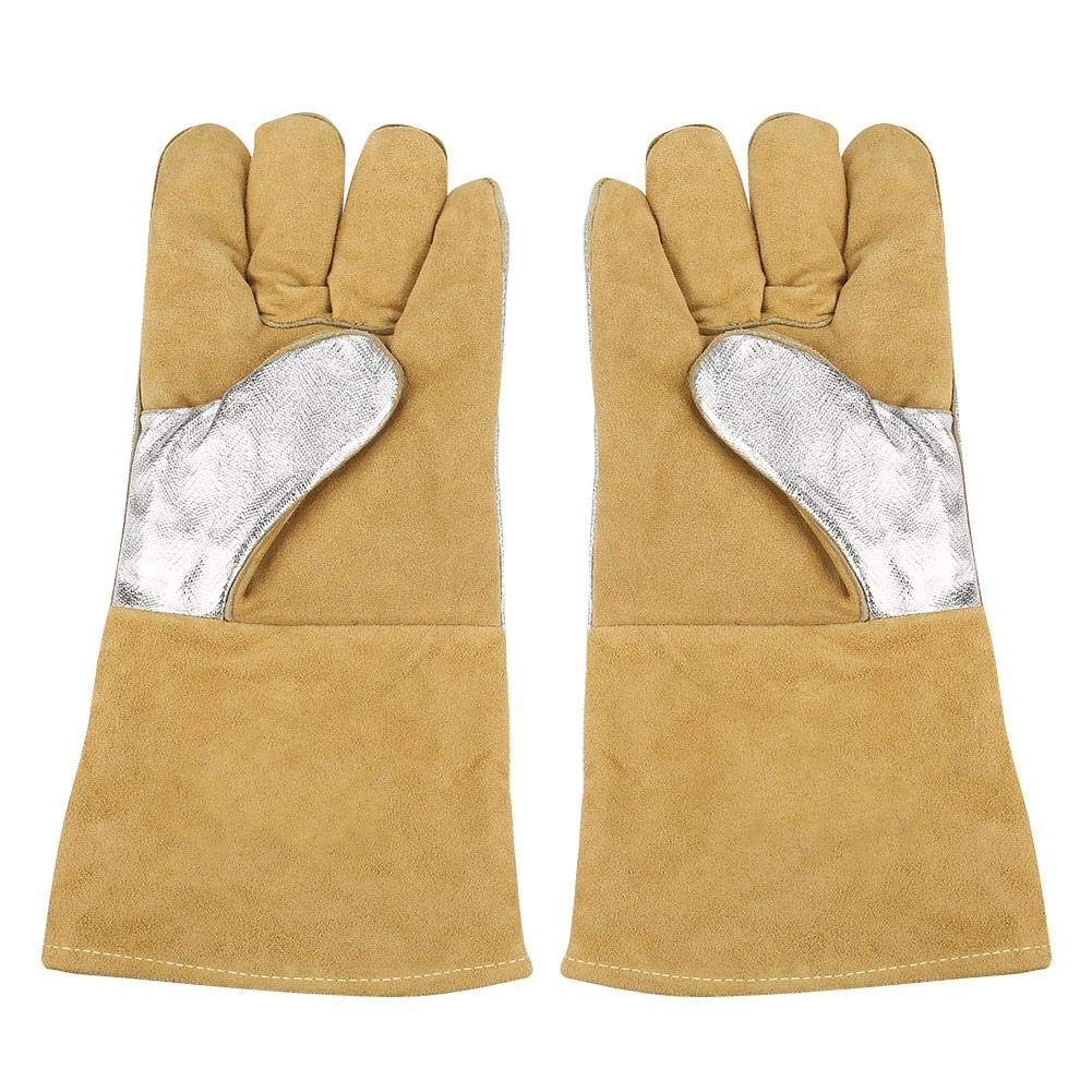 Leather Work Gloves, Cowhide Protective Gloves, 35 mm aluminized Welding Gloves High Temperature Safety Protection Perfect for Fireplace, Stove, Oven, Welding, Grilling, Oven Cloth etc