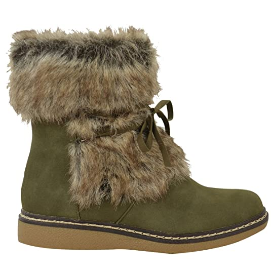 Damen Flach Kleiner Keilabsatz Kunstpelz Winter Stiefelette Stiefel Warm  Fleece Größe Neu: Amazon.de: Schuhe & Handtaschen