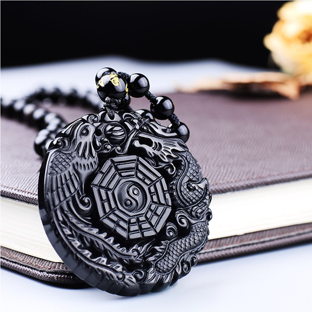 MOHICO Obsidian Pendant Necklace Obsidian Crystal Pendant Necklace Pattern with Extend Bead Chain for Men or Women