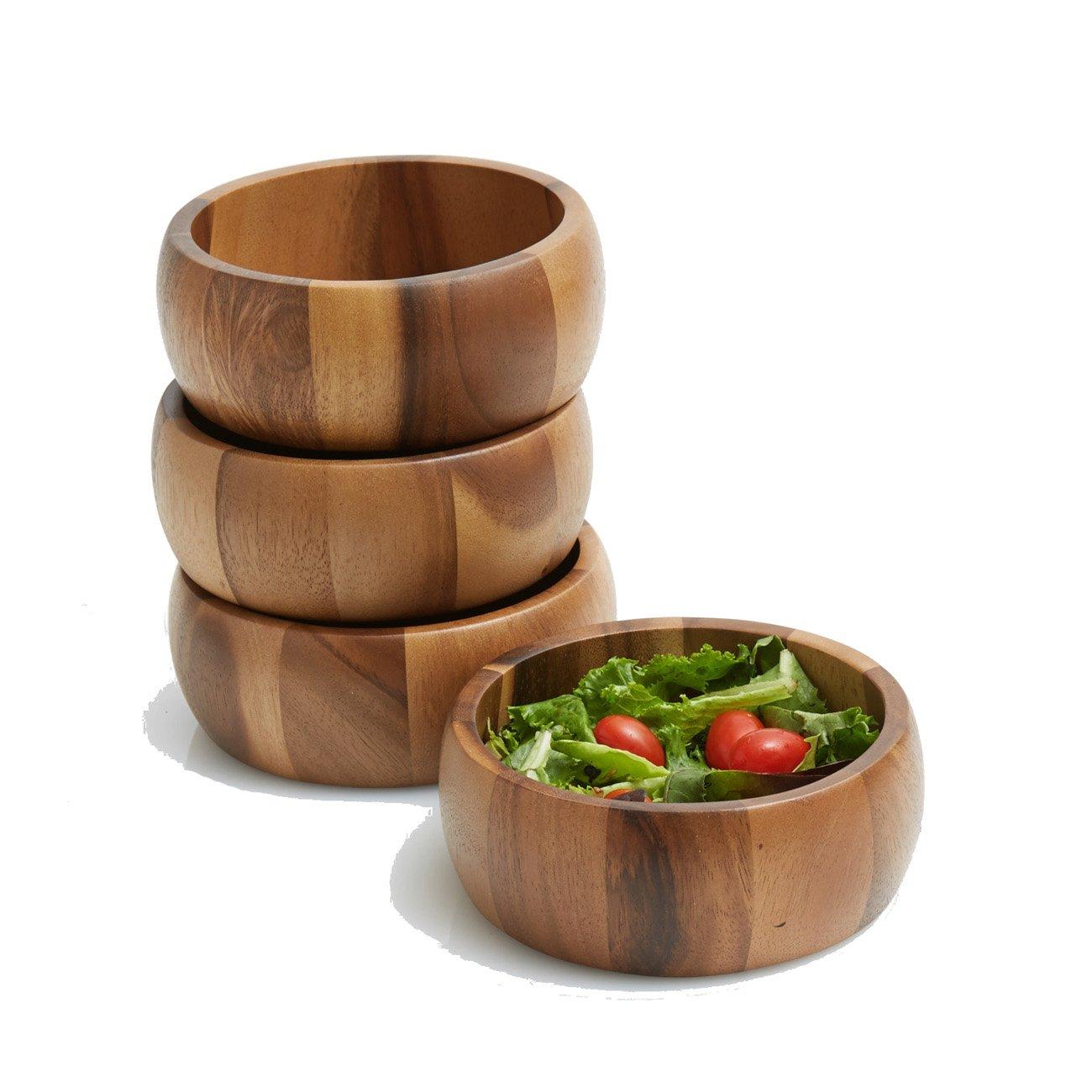 6.5 x 2.5 Snack Serving Bowls Woodard /& Charles WTT207N-4 Acacia Wood Large Individual Salad