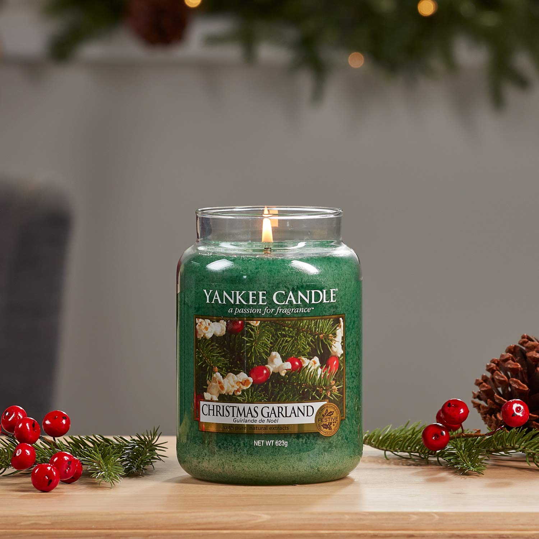 Yankee Candle 1316480E Christmas Garland Candele in giara Grande Verde 10x9.8x17.7 cm