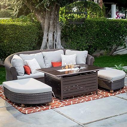 Amazon.com : Belham Propane Gas Fire Pit Sofa Sectional Set Outdoor  Conversation Patio Furniture : Garden U0026 Outdoor