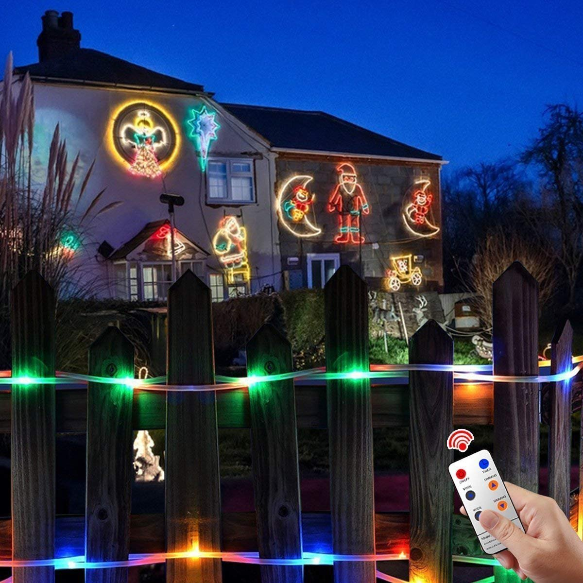 Zinuo LED String Rope Lights 33FT 136 LED Waterproof Outdoor Rope Lights, RF Remote, 8 Modes/Timer, Multi Color Patio Lights for Gardens Parties Wedding Holiday Decor (A Power Adaptor Included) by Zinuo (Image #4)