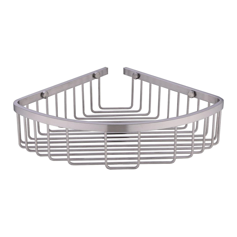 Brushed Nickel Bathroom Shelving Unit: 304 Stainless Steel Shower Caddy Corner Basket Shelf