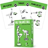 Half Balance Ball Exercise Cards, Set of 62 :: for a Home or Gym Workout :: Large Flash Cards with 50 Stability…