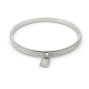 Lock Bangle Bracelet (Silver)