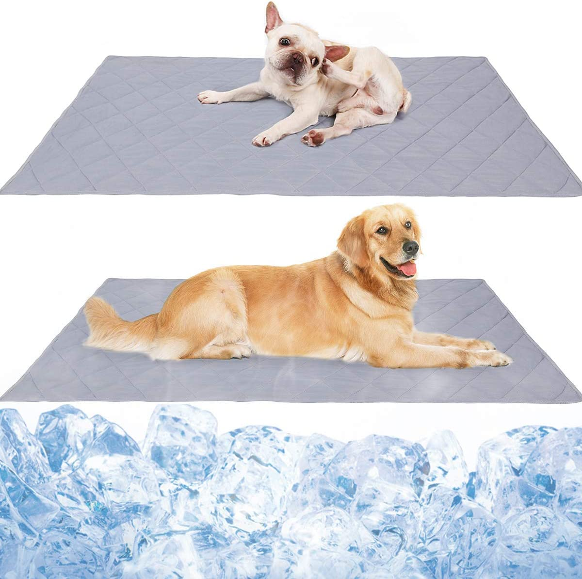 "Reversible Large Pet Cooling Mat Pad for Puppy Bulldog Boston Terrier Lab Pug Golden Retriever,Dog Cool Blanket Rug Carpet Placed on Bed Kennel Cave Machine Washable 31.5""39.4"""