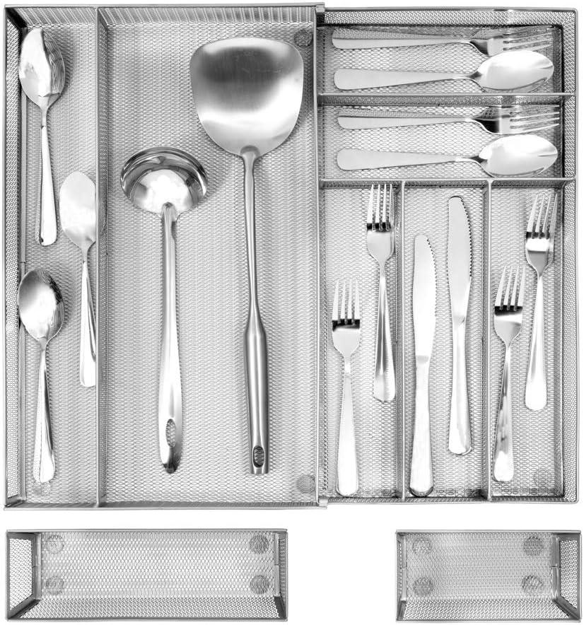 Cubertero Para Cajon Separador Cubiertos Cajon Bandejas Para Cuberter/ía 4 Compartimentos Separados Organizador Cajon Cocina de Malla