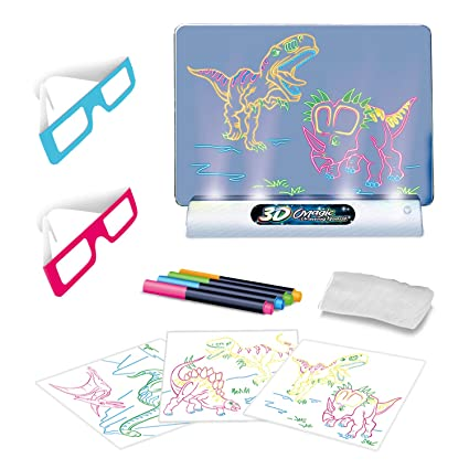 Toyvelt Light Up Tracing Pad Kids Magic Pad Light Up Drawing Board Education Dinosaur Doodle Glow Pad With 2 3d Glasses Gift For Kidstoddlers
