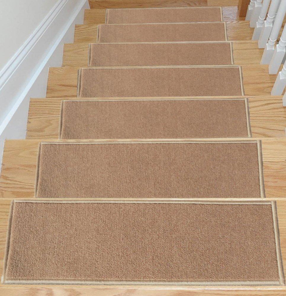 Beau Carpet Stair Treads Non Slip Skid Resistant Rubber Backing Set Of 7 Dark  Beige