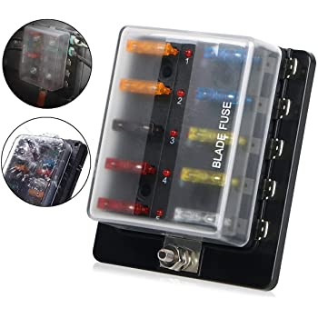 auxiliary automotive fuse box holder add 6 fused circuits for rh amazon com fuse box on 2004 f150 fuse box on 2005 f150