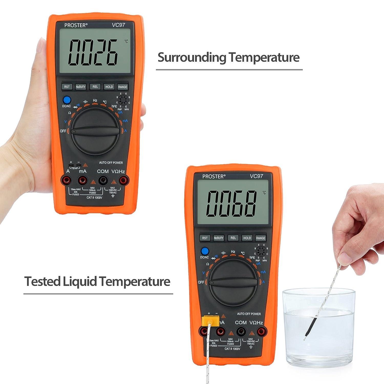 Proster VC97 Digital Multimeter LCD Digital Messger/ät Auto Range mit Messung von DCV ACV ACA Widerstand Kapazit/ät Frequenz Temperatur usw