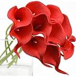 FiveSeasonStuff 10 pezzi Qualità Tocco Realistico Calla Lilies Artificiale Mazzo di Fiori, Ideale per Matrimoni, Sposa, Partito, Casa, Studio Décor Fai da te (Rosso)