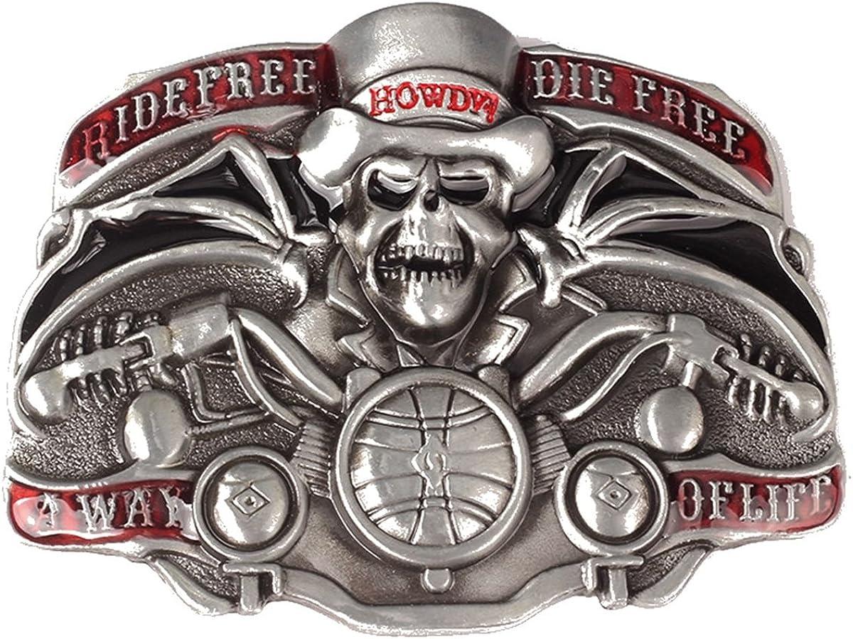 Vintage Pirates Skull Belt Buckle Cowboy Native American Motorcyclist SK-22