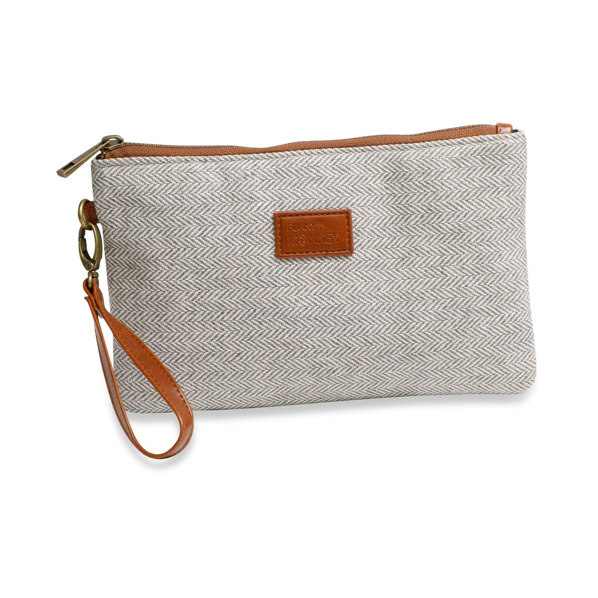 {Grace Collection} Wristlet Wallet Clutch Bag - Phone Purse Handbag - Small, Medium, Large Size - Gray & White Herringbone Style - Funky Monkey Fashion (Large)