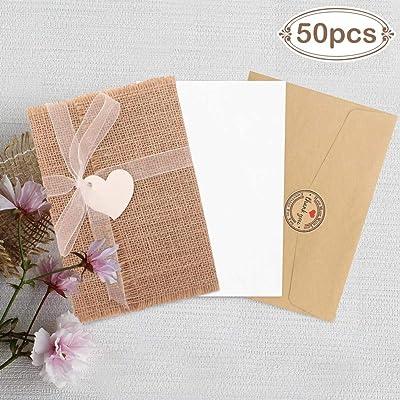 Aparty4u 50 tarjetas de invitaciones rústicas de arpillera con sobres vintage con pegatina «Thank You», tarjeta de felicitación creativa para baby shower, invitación, boda, fiesta, suministros ...: Oficina y papelería