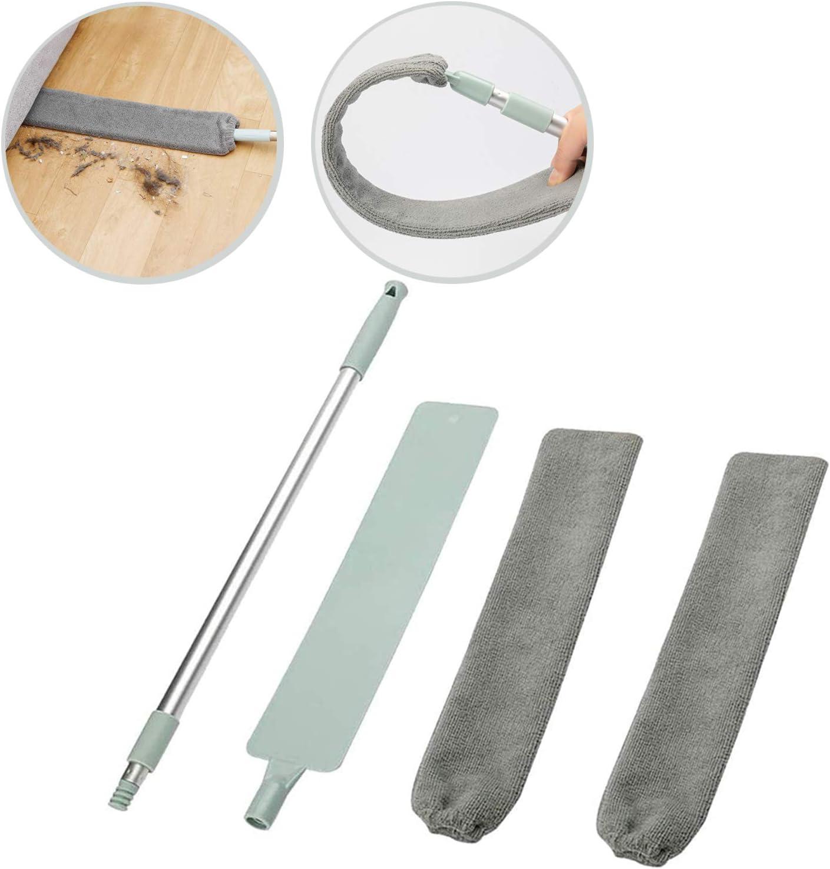 TCJJ Cepillo Limpiador de Polvo con Varilla Telescópica de Acero Inoxidable,Plumero Telescopico de Microfibra Lavable para el Hogar,Limpieza de Polvo para Muebles de Sofá Cama Piso