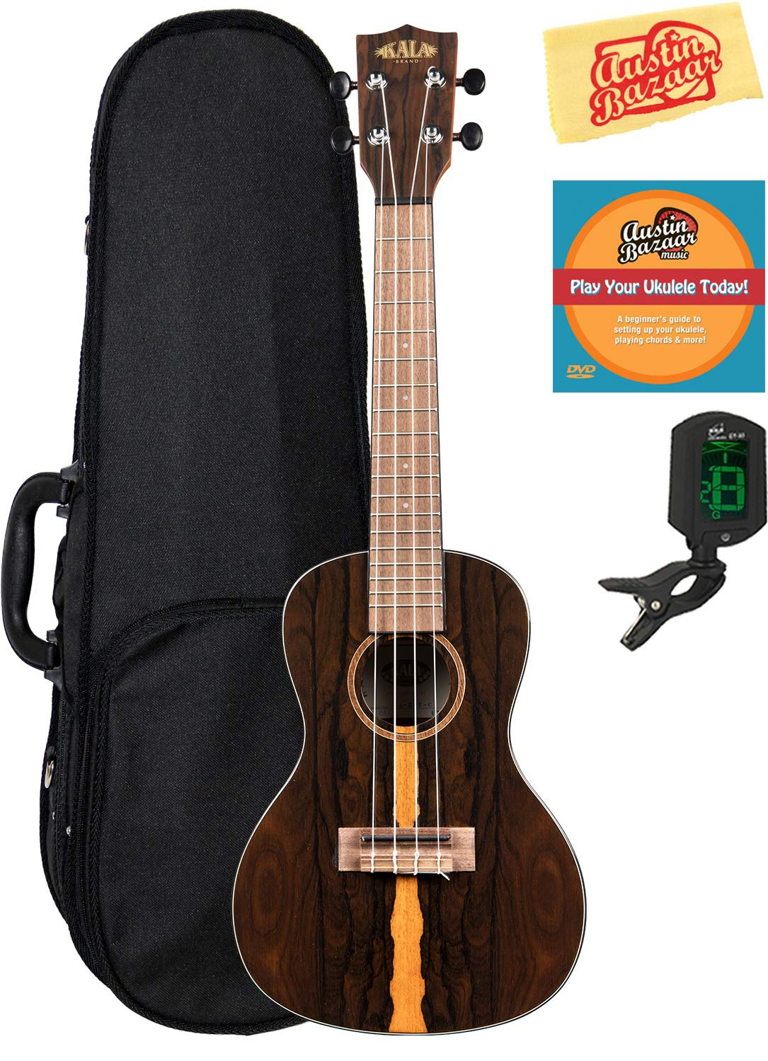Kala KA-ZCT-C Ziricote Concert Ukulele Bundle with Hard Case, Tuner, Austin Bazaar Instructional DVD, and Polishing Cloth