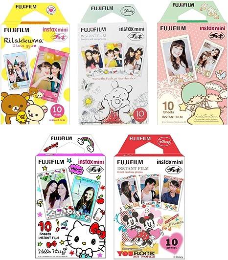 Fujifilm Instax Mini película 5 Pack Bundle. Hello Kitty, Rilakkuma, Disney Mickey y amigos, Little Twin Stars, Winnie the Pooh 10 x 5=50 hojas, varios Set + pegatinas, 20 pcs: Amazon.es: Electrónica