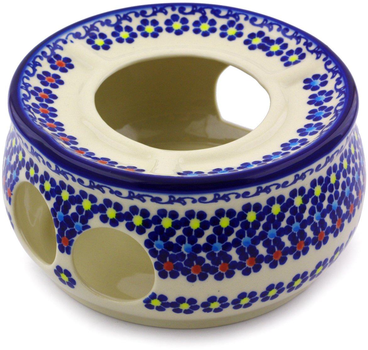 Polish Pottery 7½-inch Heater (Pansy Plenty Theme) + Certificate of Authenticity