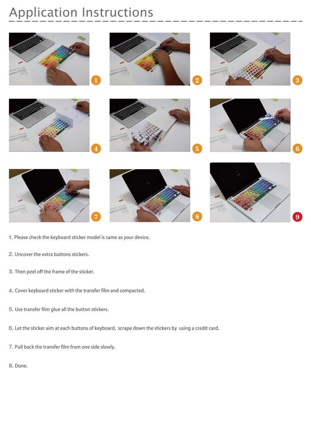 Xiton Autocollant de d/écalque Clavier macbook macbook Couverture Clavier Macbook Pro Keyboard Skin Macbook Air Clavier Autocollant d/écalcomanie macbook