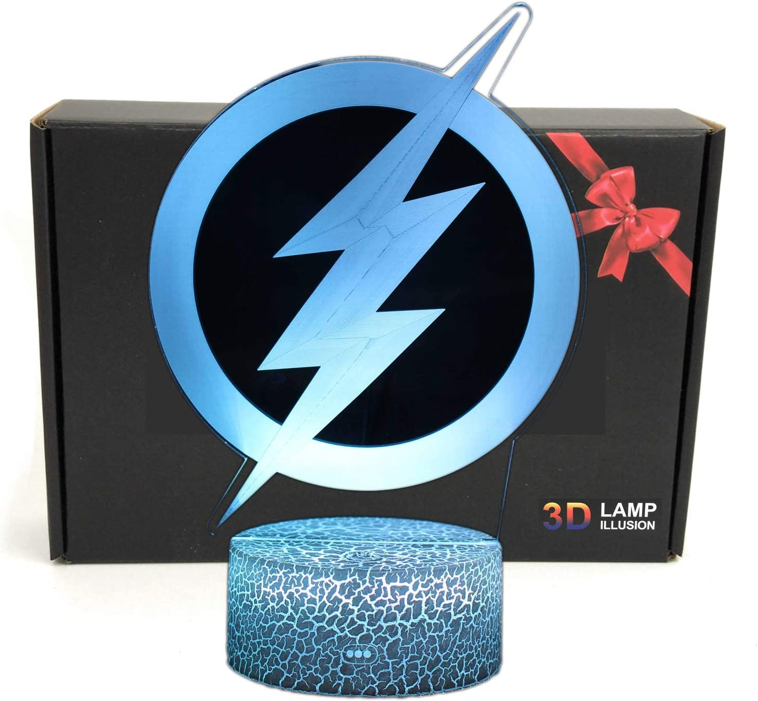 DGLighting Superhero Cartoon Shape 3D Illusion LED Desk Lamp Night Light with Lighted ABS Base and USB Cable,7 Colors Change,Smart Touch Button Control,for Home Decor (The Flash Logo)