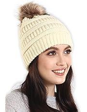fa287cf36d9 Brook + Bay Faux Fur Pom Pom Beanie - Stay Warm   Stylish - Thick