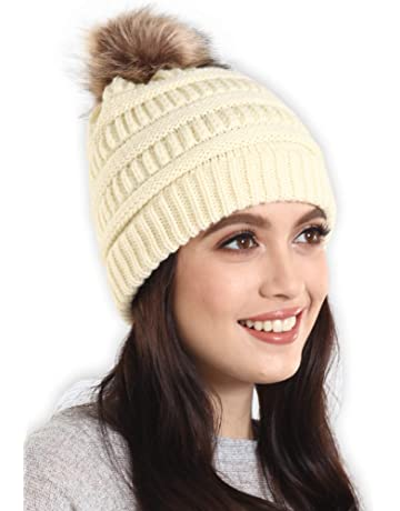 ... Women 2 Pack Winter Warm Chunky Soft Oversized Cable Knit Cap. Brook +  Bay Faux Fur Pom Pom Beanie - Stay Warm   Stylish - Thick 7429e6a3cfb