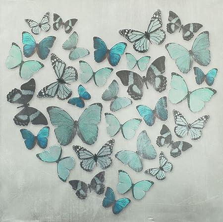 Teal Blue Metallic Butterfly Love Butterflies Canvas Wall Art Picture 57 X  57 Cm