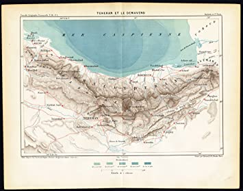 ThePrintsCollector Antik map-tehran-damavand-iran-persia ...