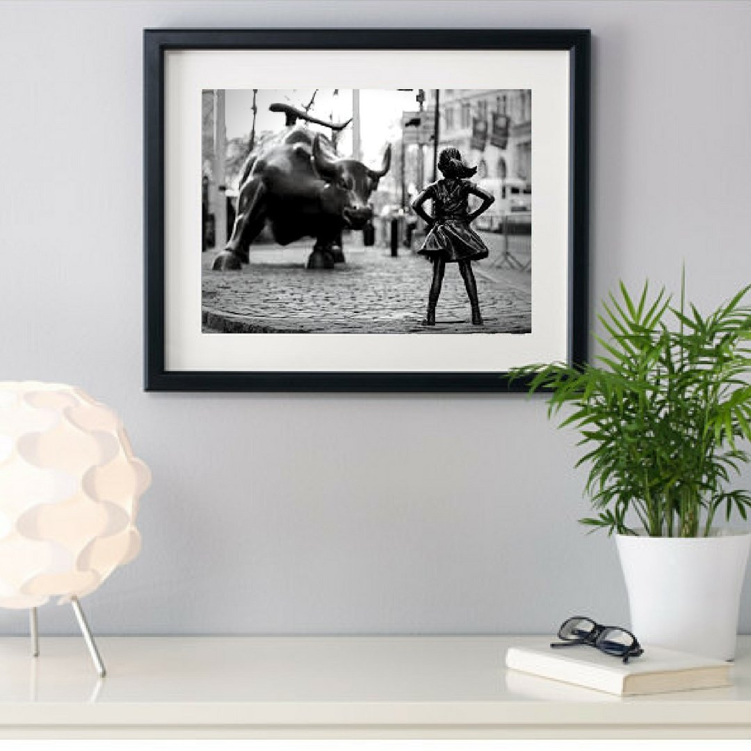 Fearless Girl Statue , Wall street bull, Girl power, New York Photography Framed, Black and White Art Print,Framed Art Print 14x18 inch, Girl Power, Home Decor