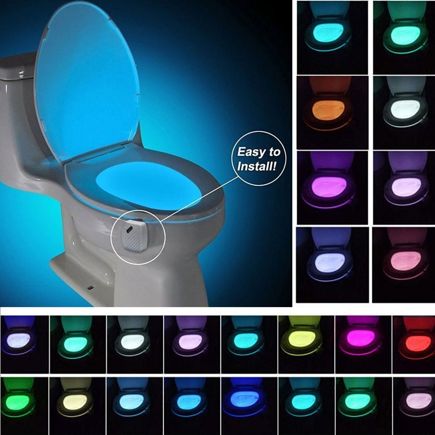 niceeshop (TM) 24  Colors Color Toilet Night Light Motion and Light Sensor Toilet Bowl Lights Battery Powered Toilet LED Flood Light for Bath/Bathroom Decoration