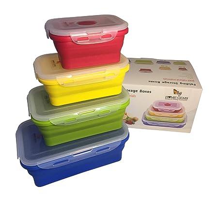 Fiambreras plegables de silicona para almacenamiento de alimentos, multicolor, 4 unidades, rectangulares, sin BPA, ahorra espacio, herméticas, a ...