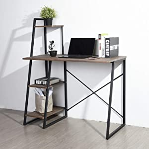 4 Tier Computer Desk with Storage Shelves Small Study Writing Desk Modern Student Desk with Bookshelves for Small Spaces, Metal Frame PC Laptop Table Workstation, Rustic Brown, 39.4 in