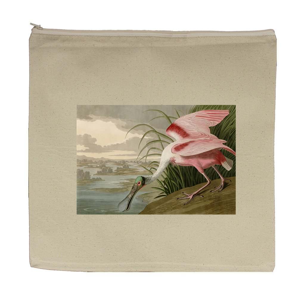 Roseate Spoonbill (Audubon) Canvas Zipper Tote Bag Makeup Bag