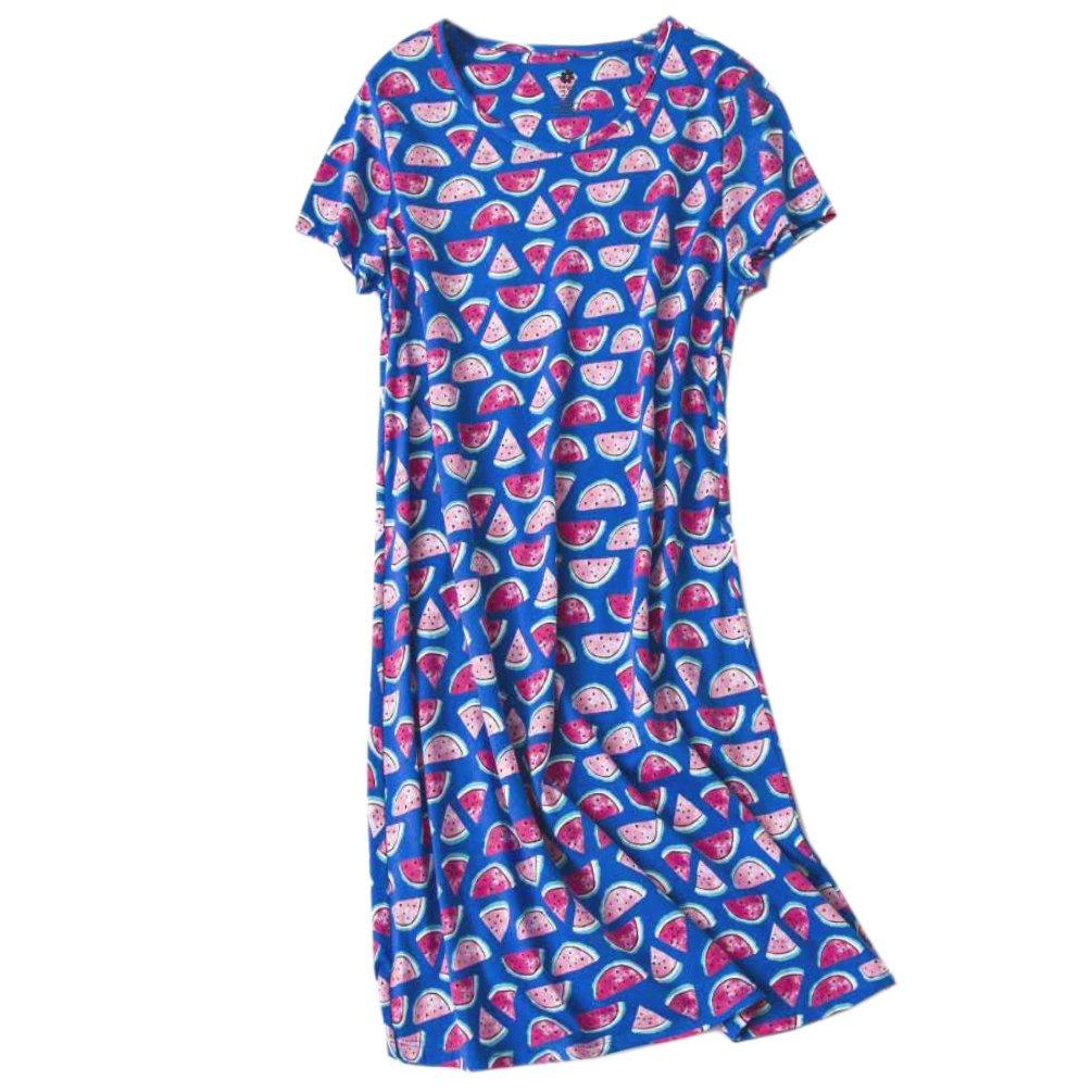 ENJOYNIGHT Womens Cotton Sleepwear Short Sleeves Print Sleepshirt Sleep Tee (Bird, XXL)