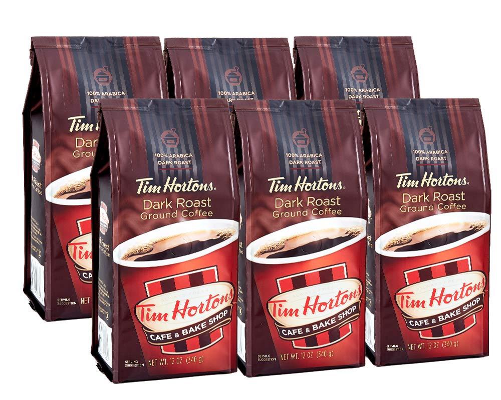 Tim Hortons Dark Roast Ground Coffee, 12-Ounce Bags, Case of 6
