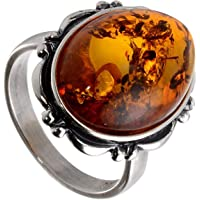 HolidayGiftShops Sterling Silver and Baltic Honey Oval Amber Ring