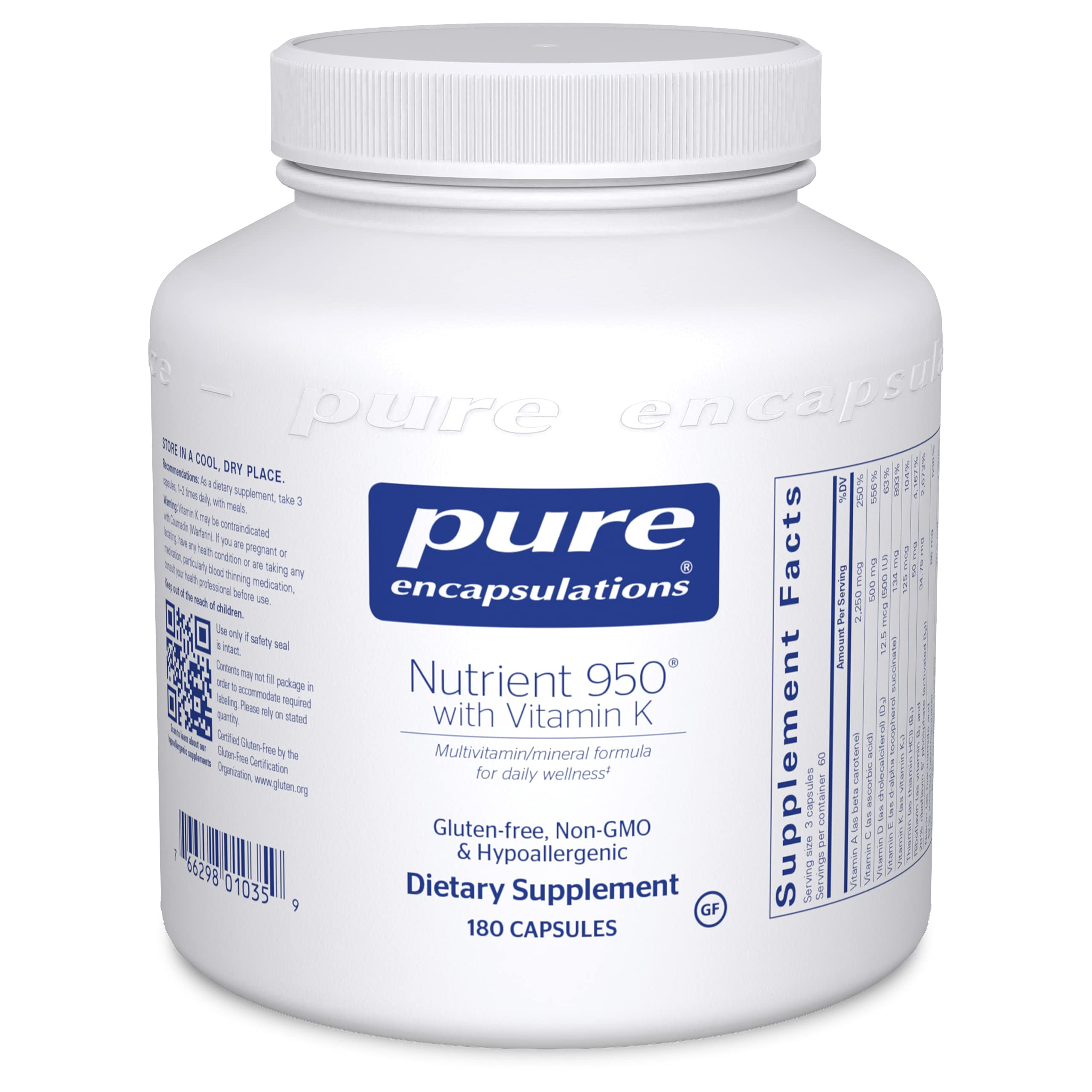 Pure Encapsulations - Nutrient 950 with Vitamin K - Vitamin Mineral Formula for Optimal Health - 180 Capsules