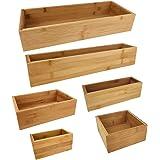 Unbekannt 6-tlg. Bambus Aufbewahrungsboxen Set - Holzstärke ca. 1,0 cm, Bambusholz